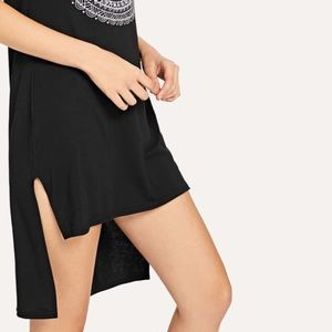 Forever 21 Elephant Graphic High low dress black